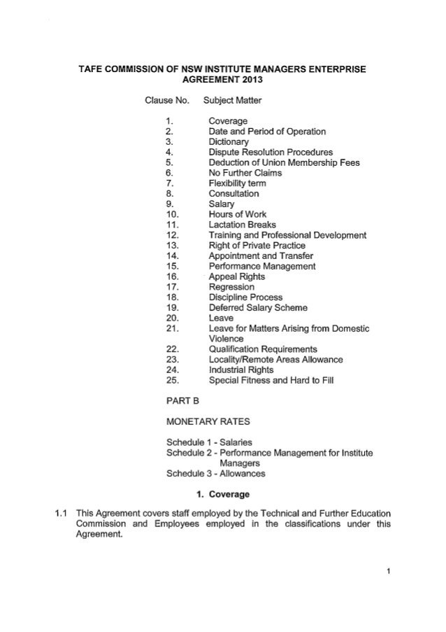 TAFE Commission of NSW Institute Managers Enterprise Agreement 2013