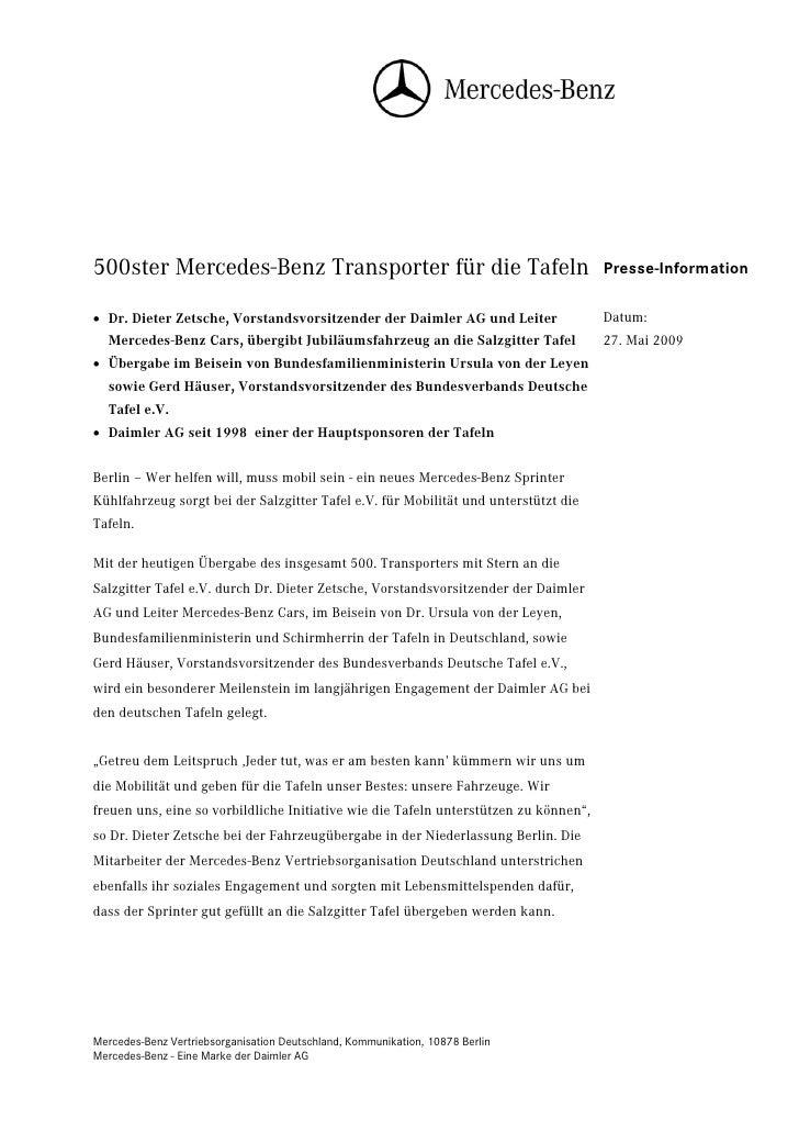 500ster Mercedes-Benz Transporter für die Tafeln                                      Presse-Information• Dr. Dieter Zetsc...