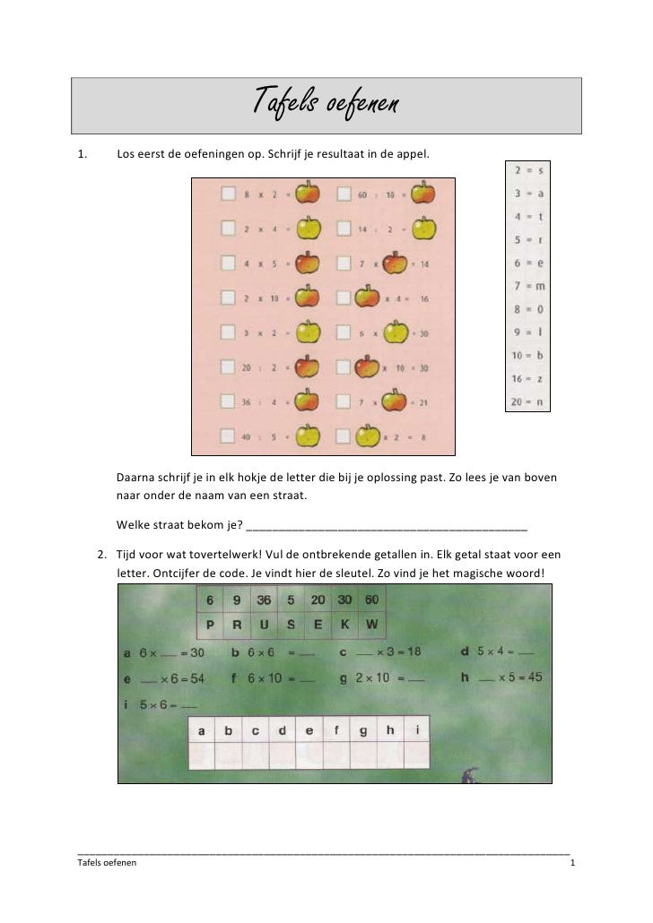 Tafels oefenen <br />Los eerst de oefeningen op. Schrijf je resultaat in de appel. <br />1243330128905<br />384365522225<b...