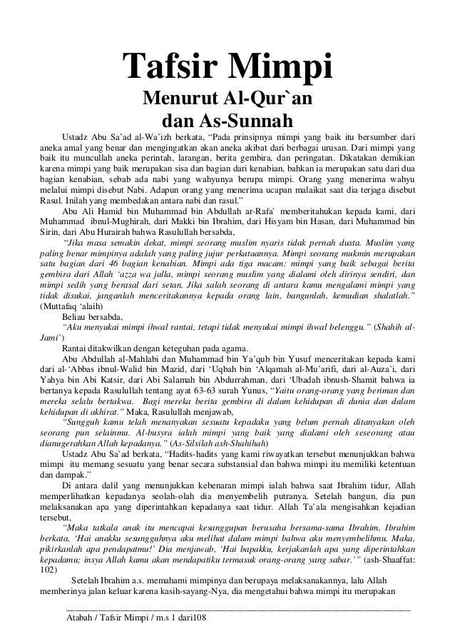 Tafsir Mimpi Menurut Al Quran