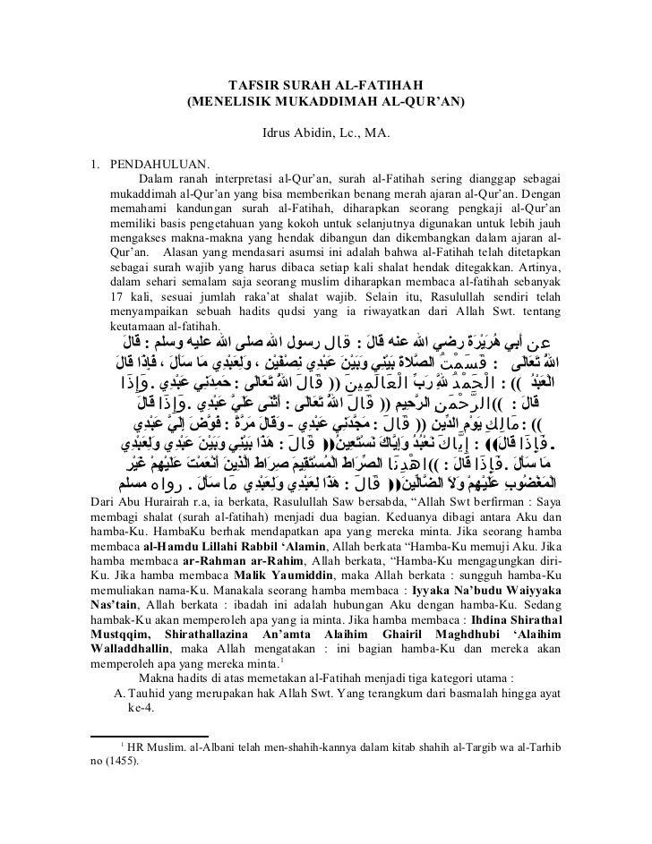 Tafsir Surah Al Fatihah