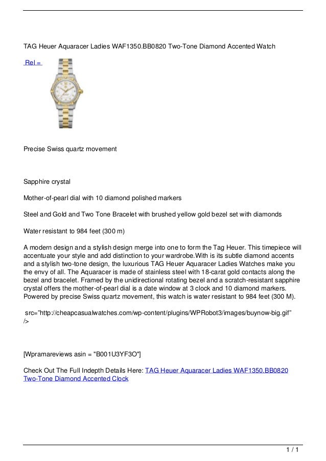 TAG Heuer Aquaracer Ladies WAF1350.BB0820 Two-Tone Diamond Accented Watch                                   Rel =         ...