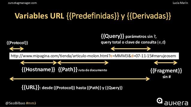 @SeoBilbao #mm3 Lucía Maríncursotagmanager.com 10 Variables URL {{Predefinidas}} y {{Derivadas}} {{Protocol}} http://www.m...