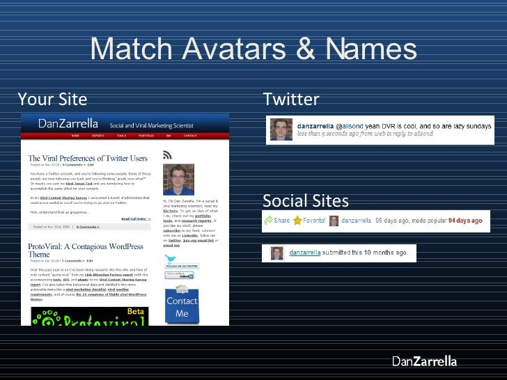 Match Avatars & Names Your Site Social Sites Twitter