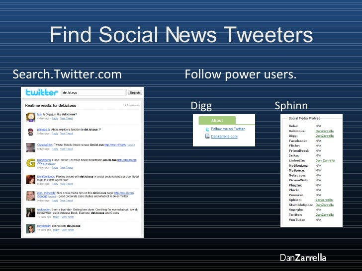 Find Social News Tweeters Search.Twitter.com Follow power users. Digg  Sphinn