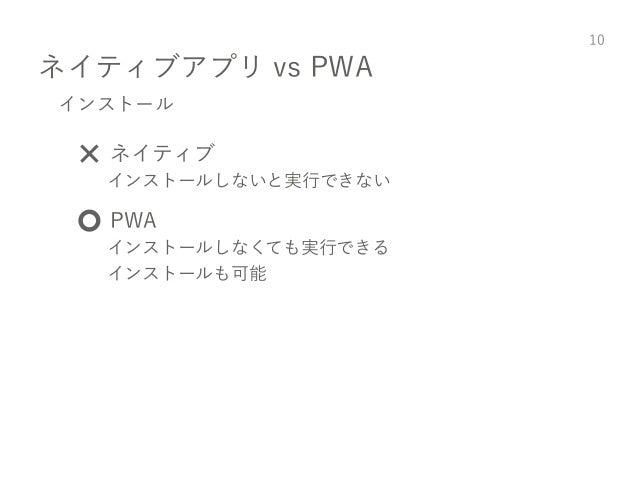 ネイティブアプリ vs PWA 10 インストール ❌ ネイティブ インストールしないと実行できない ⭕️ PWA インストールしなくても実行できる インストールも可能
