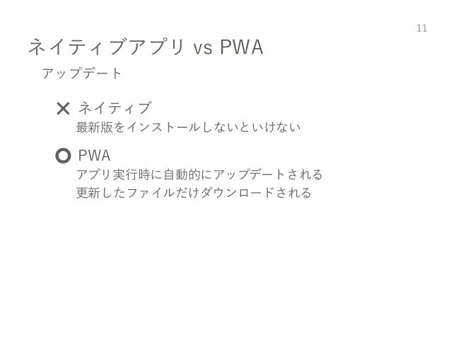 ネイティブアプリ vs PWA 11 アップデート ❌ ネイティブ 最新版をインストールしないといけない ⭕️ PWA アプリ実行時に自動的にアップデートされる 更新したファイルだけダウンロードされる