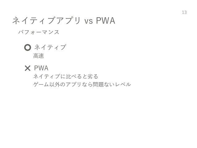 ネイティブアプリ vs PWA 13 パフォーマンス ⭕️ ネイティブ 高速 ❌ PWA ネイティブに比べると劣る ゲーム以外のアプリなら問題ないレベル