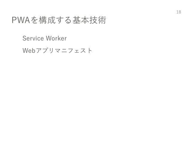 PWAを構成する基本技術 Service Worker Webアプリマニフェスト 18