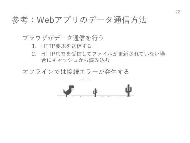 参考:Webアプリのデータ通信方法 ブラウザがデータ通信を行う 1. HTTP要求を送信する 2. HTTP応答を受信してファイルが更新されていない場 合にキャッシュから読み込む オフラインでは接続エラーが発生する 22