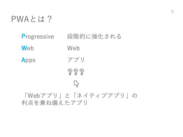 PWAとは? Progressive 段階的に強化される Web Web Apps アプリ ❓❓❓ 👇 「Webアプリ」と「ネイティブアプリ」の 利点を兼ね備えたアプリ 3