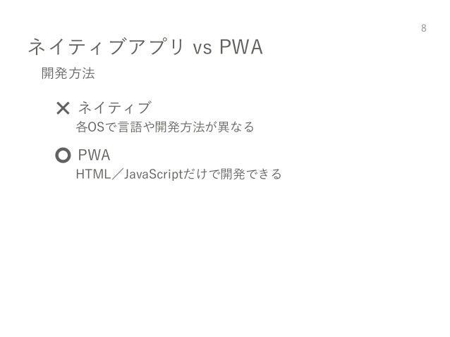 ネイティブアプリ vs PWA 8 開発方法 ❌ ネイティブ 各OSで言語や開発方法が異なる ⭕️ PWA HTML/JavaScriptだけで開発できる