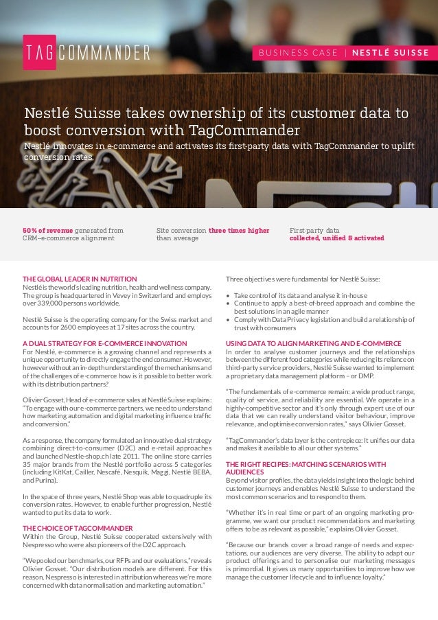 Nestlé innovates in e-commerce and activates its first-party data with TagCommander to uplift conversion rates. Nestlé Sui...