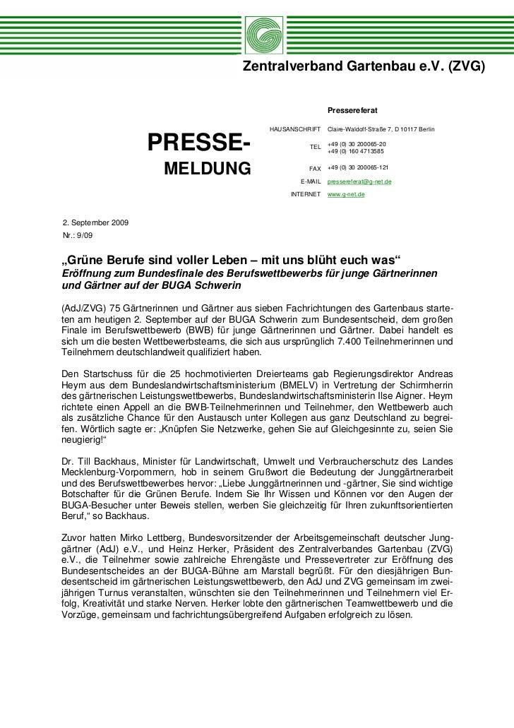 Zentralverband Gartenbau e.V. (ZVG)                                                               Pressereferat           ...