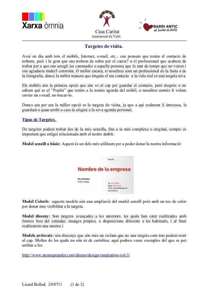 Casa Caritat                                           Ajuntament de Valls                                        Targetes...