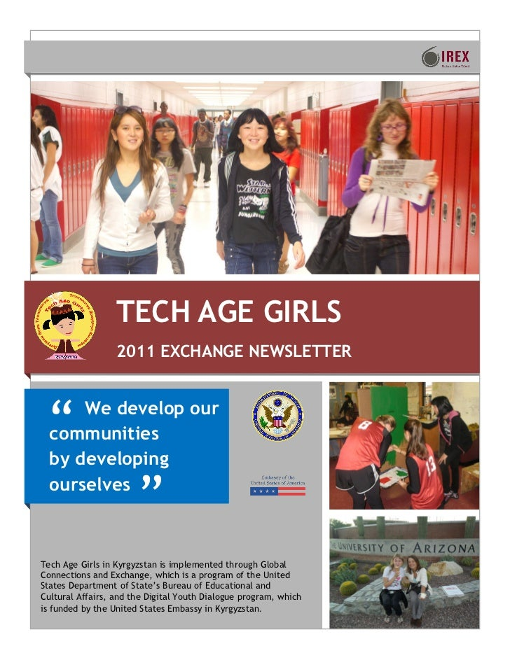 TECH AGE GIRLS                  2011 EXCHANGE NEWSLETTER ―    We develop our  communities  by developing  ourselves       ...