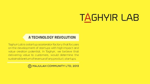 TAGHYIR LAB A TECHNOLOGY REVOLUTION T aghyir Lab is a startup accelerator factory that focuses on the development of start...