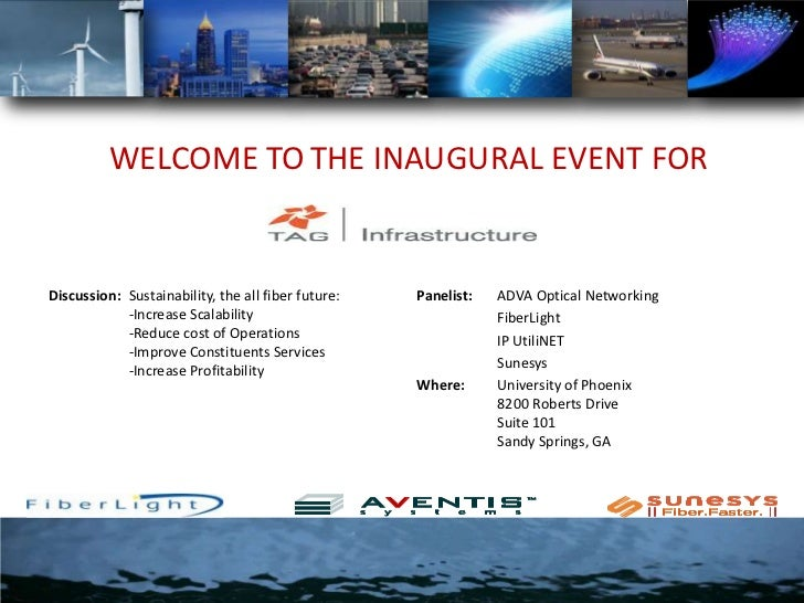 WELCOME TOTHE INAUGURAL EVENT FOR<br />Discussion:  	Sustainability, the all fiber future:	-Increase Scalability	-Reduce c...