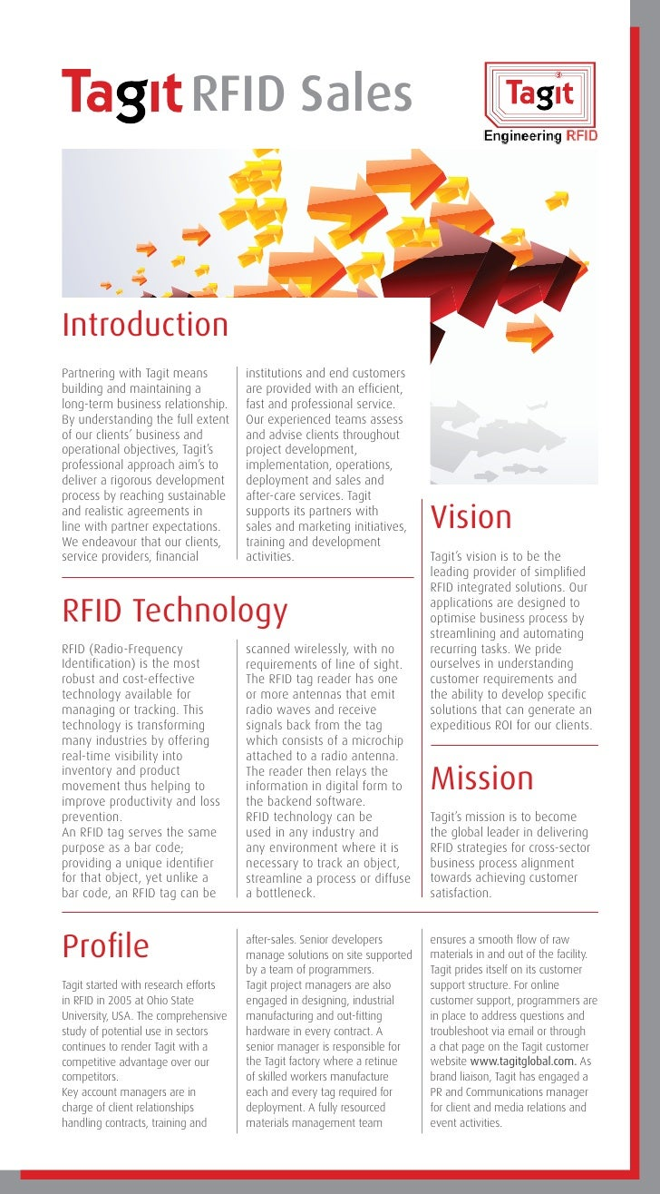 RFID SalesIntroductionPartnering with Tagit means           institutions and end customersbuilding and maintaining a      ...
