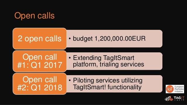 Open calls • budget 1,200,000.00EUR2 open calls • Extending TagItSmart platform, trialing services Open call #1: Q1 2017 •...