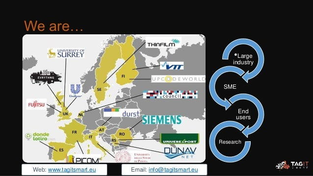 •Large industry SME End users Research We are… Web: www.tagitsmart.eu Email: info@tagitsmart.eu