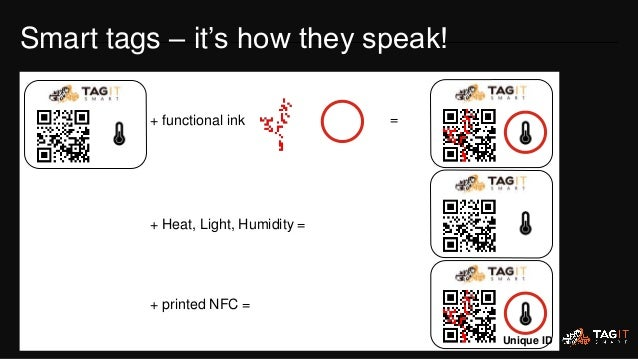 + functional ink = + Heat, Light, Humidity = + printed NFC = Unique ID Smart tags – it's how they speak!