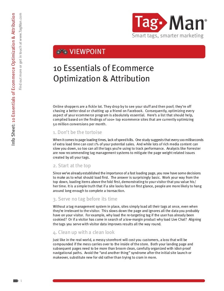 Info Sheet: 10 Essentials of Ecommerce Optimization & Attribution                                                         ...