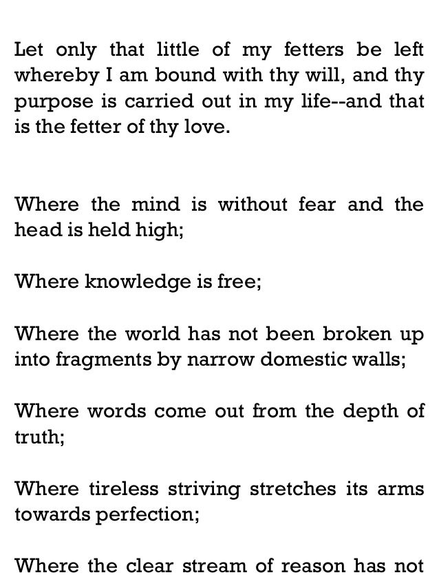 "essays on gitanjali In an essay entitled ""a poet's school,"" he emphasizes the importance of an empathetic sense of interconnectedness with the surrounding world."