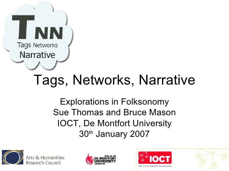Tags, Networks, Narrative Explorations in Folksonomy Sue Thomas and Bruce Mason IOCT, De Montfort University 30 th  Januar...