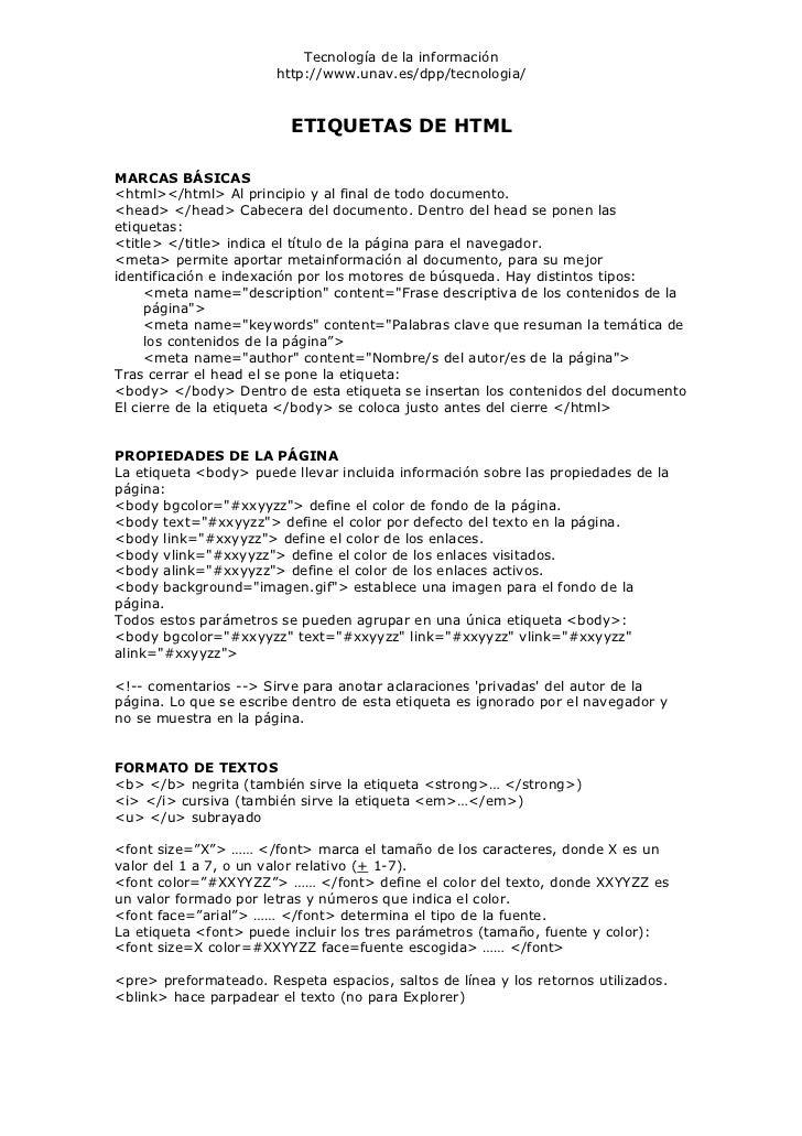Tecnología de la información                       http://www.unav.es/dpp/tecnologia/                         ETIQUETAS DE...