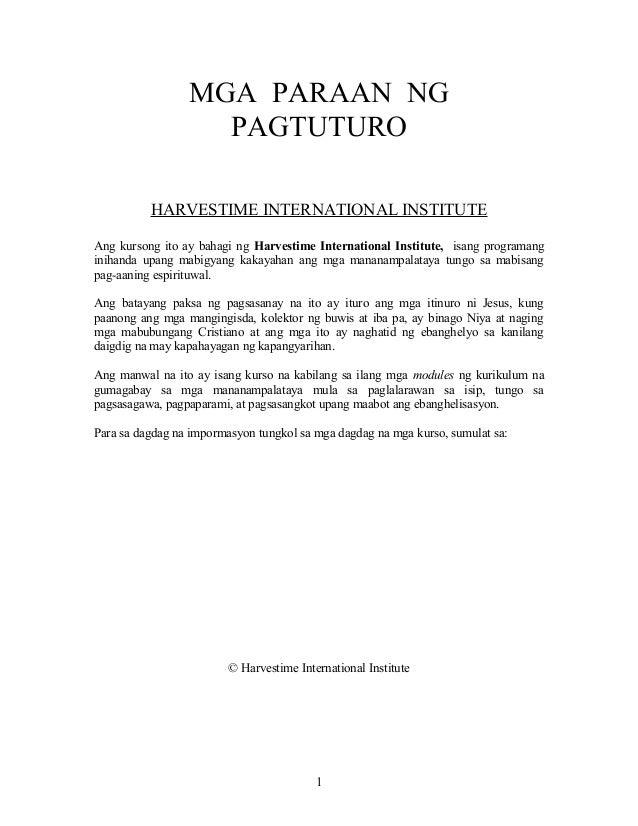 MGA PARAAN NG                   PAGTUTURO          HARVESTIME INTERNATIONAL INSTITUTEAng kursong ito ay bahagi ng Harvesti...