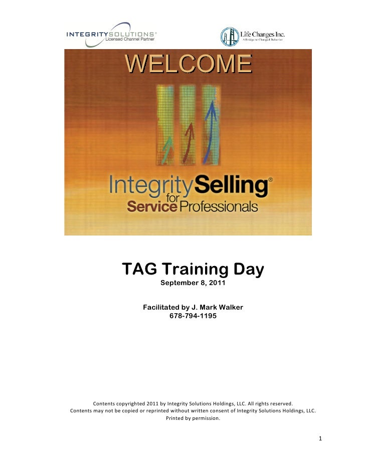 WELCOME                     TAG Training Day                                     September 8, 2011                        ...