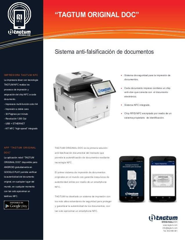 """""""TAGTUM ORIGINAL DOC"""" Sistema anti-falsificación de documentos Sistema de seguridad para la impresión de documentos. Cada ..."""