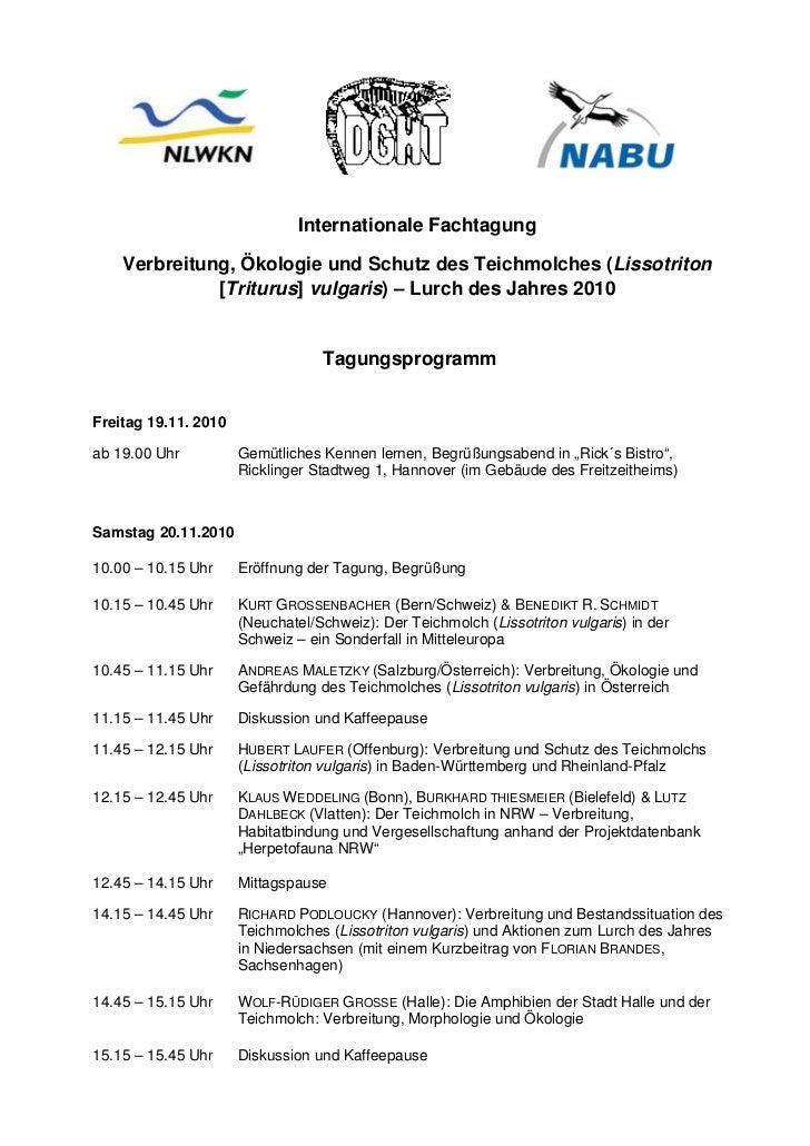 Internationale Fachtagung    Verbreitung, Ökologie und Schutz des Teichmolches (Lissotriton              [Triturus] vulgar...