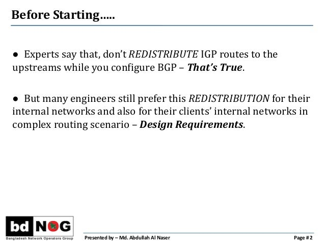 Tag your Routes Before Redistribution  Slide 2