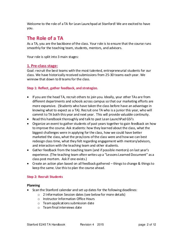 teaching assistant handbook for the lean launchpad course