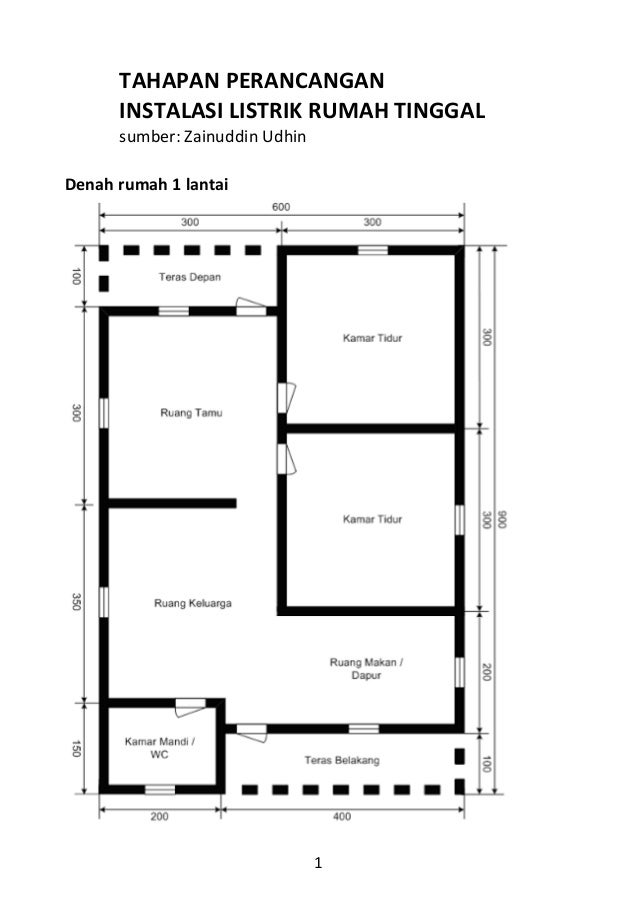 Tahapan perancangan 1 tahapan perancangan instalasi listrik rumah tinggal sumber zainuddin udhin denah rumah 1 lantai 2 diagram ccuart Choice Image