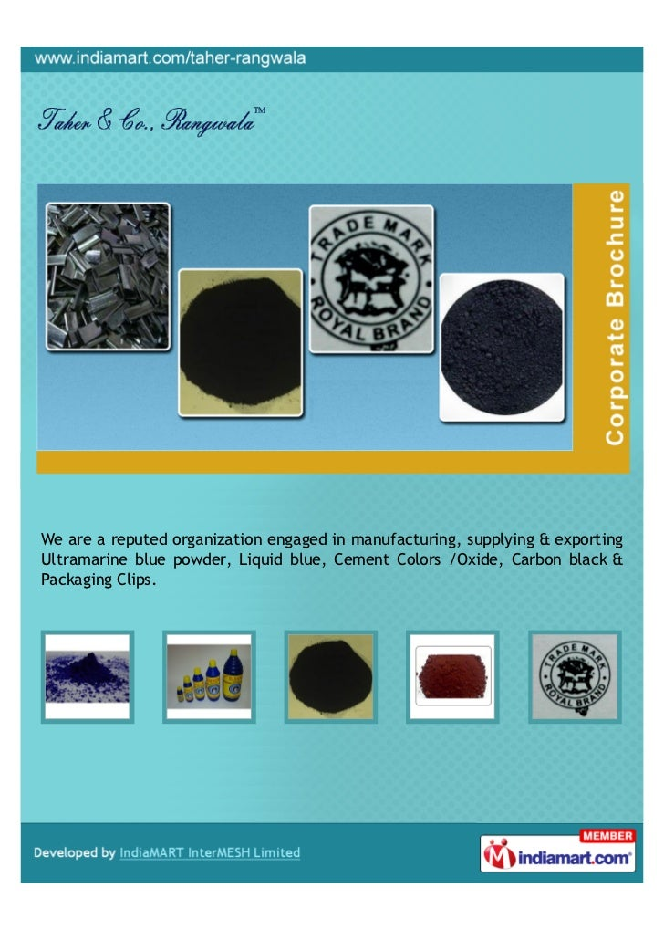 We are a reputed organization engaged in manufacturing, supplying & exportingUltramarine blue powder, Liquid blue, Cement ...