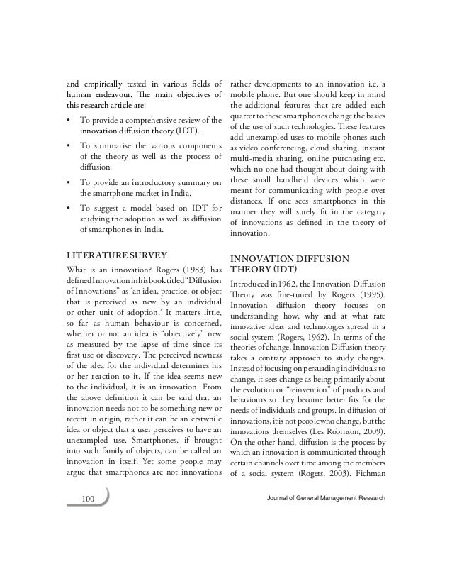 adoption and diffusion essay Research essay about the spread of twitter using diffusion of  (1995) stated  that different innovations will have different rates of adoption,.