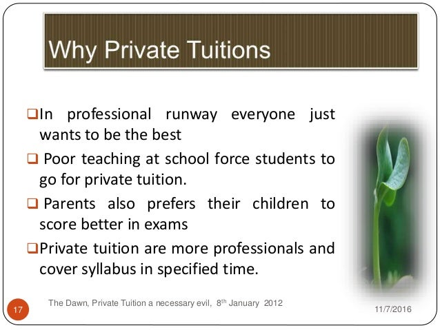 essay on private tuitions are a necessary evil