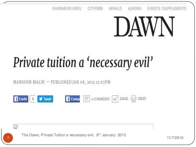 essay on private tuitions are necessary evils