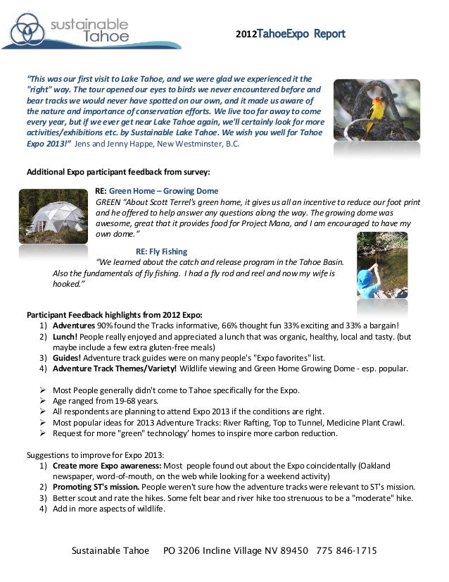 """2012TahoeExpo Report""""This was our first visit to Lake Tahoe, and we were glad we experienced it the""""right"""" way. The tour o..."""