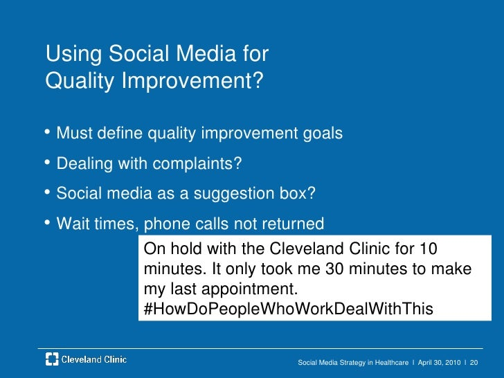 a marketing strategy for the improvement of the cleveland clinic The cleveland clinic's transformation involved actions any organization can take  cosgrove made improving the patient experience a strategic priority, ultimately.
