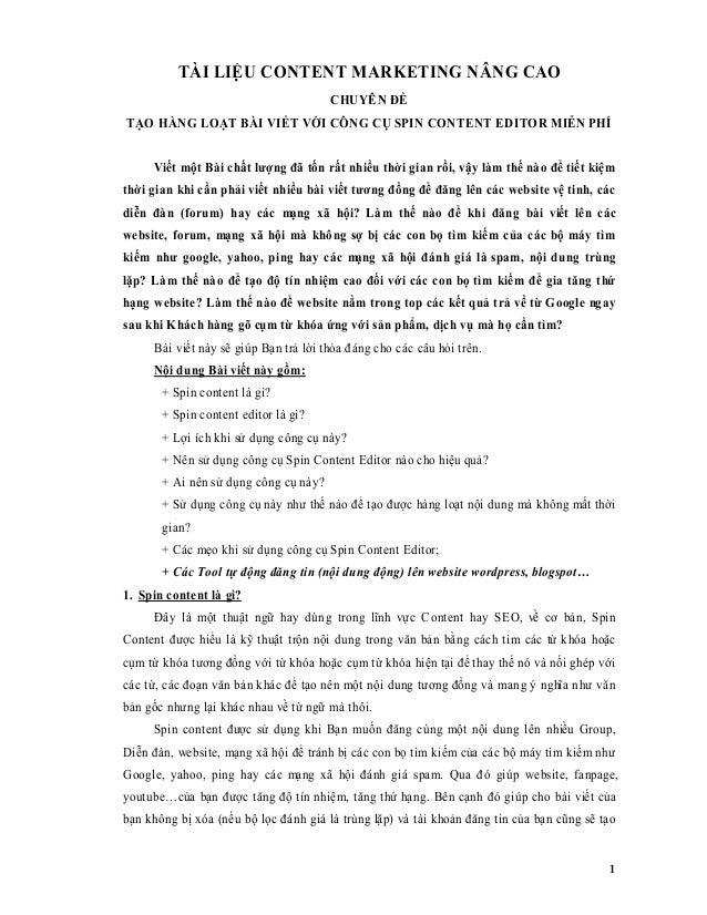1 TÀI LIỆU CONTENT MARKETING NÂNG CAO CHUYÊN ĐỀ TẠO HÀNG LOẠT BÀI VIẾT VỚI CÔNG CỤ SPIN CONTENT EDITOR MIỄN PHÍ Viết một B...
