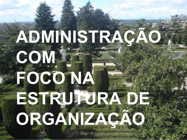 ADMINISTRAÇÃO COM FOCO NA ESTRUTURA DE ORGANIZAÇÃO