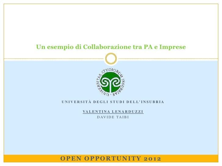 Un esempio di Collaborazione tra PA e Imprese       U N I V E R S I T À D E G L I S T U D I D E L L' I N S U B R I A      ...