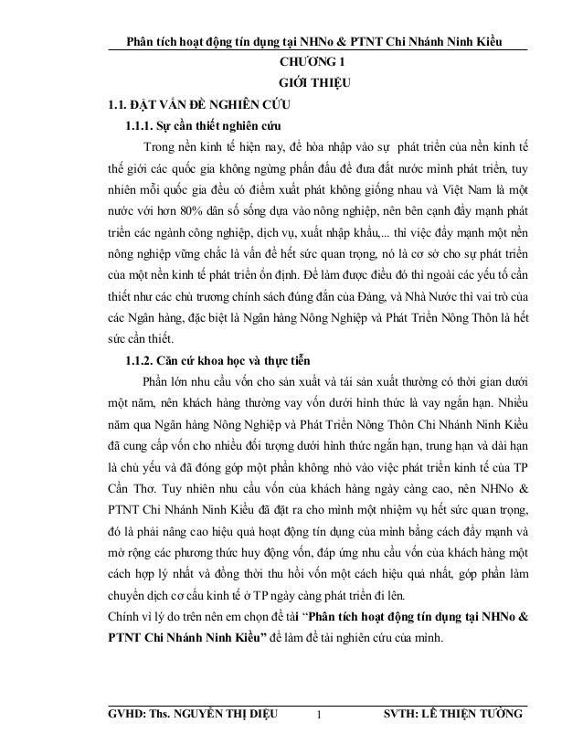 Phân tích hoạt động tín dụng tại NHNo & PTNT Chi Nhánh Ninh Kiều CHƯƠNG 1 GIỚI THIỆU 1.1. ĐẶT VẤN ĐỀ NGHIÊN CỨU 1.1.1. Sự ...