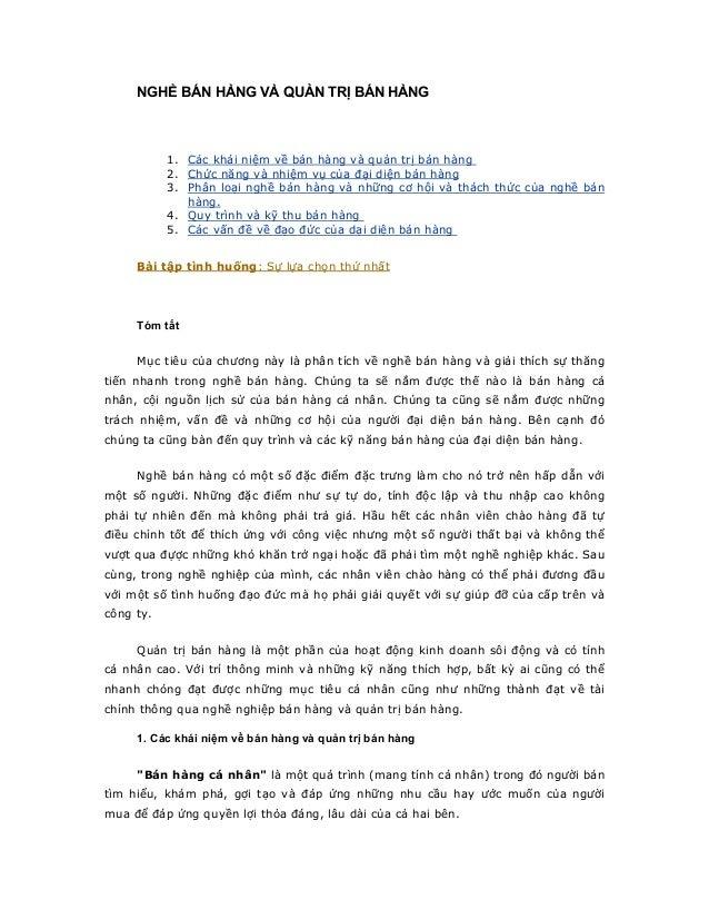 NGHỀ BÁN HÀNG VÀ QUẢN TRỊ BÁN HÀNG 1. Các khái niệm về bán hàng và quản trị bán hàng 2. Chức năng và nhiệm vụ của đại diện...