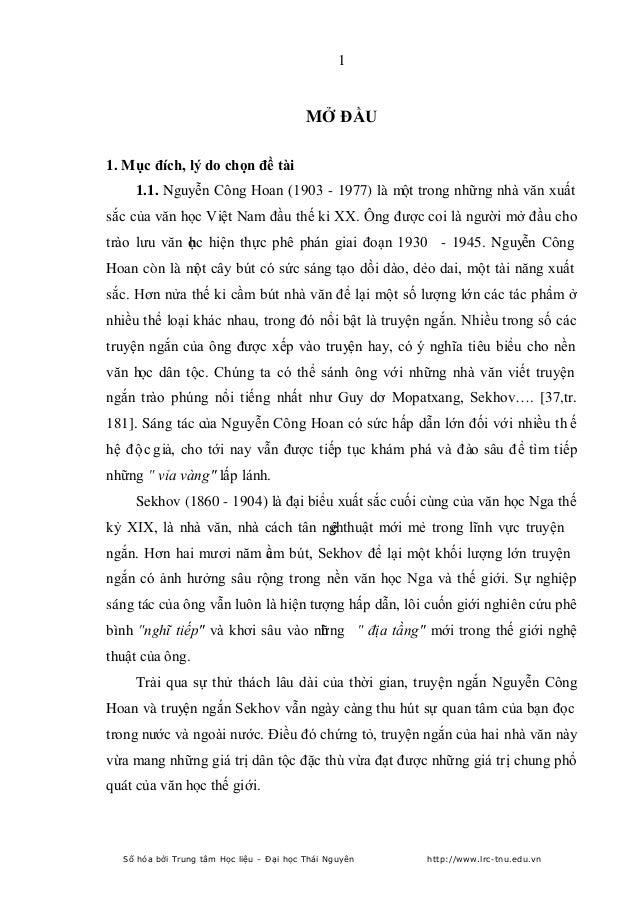 1  MỞ ĐẦU 1. Mục đích, lý do chọn đề tài 1.1. Nguyễn Công Hoan (1903 - 1977) là một trong những nhà văn xuất sắc của văn h...