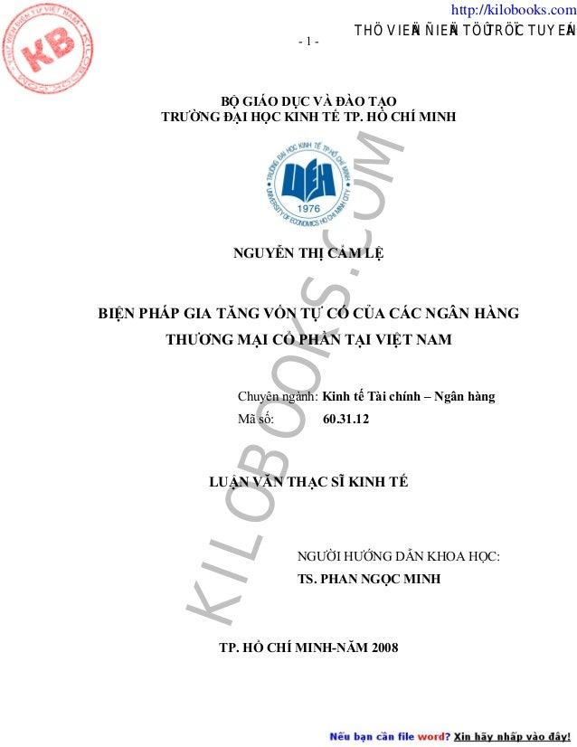 http://kilobooks.com -1-  THÖ VIEÄN ÑIEÄN TÖÛ TRÖÏC TUYEÁN  COM  BỘ GIÁO DỤC VÀ ĐÀO TẠO TRƯỜNG ĐẠI HỌC KINH TẾ TP. HỒ CHÍ ...
